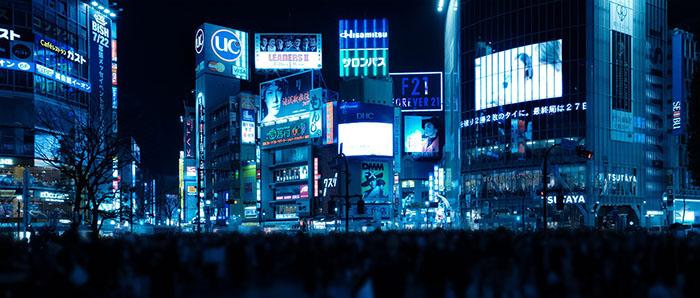 blaue LED Shibuya